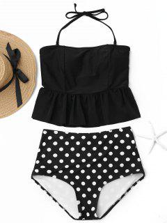 Polka Dot Peplum High Waisted Tankini Set - Black L