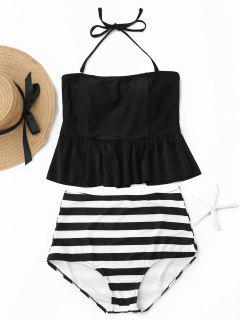 Striped Peplum High Waisted Tankini Set - Black L
