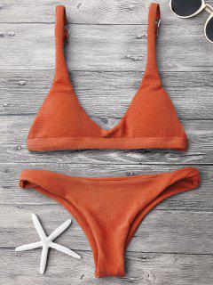 Niedriger Tailliertes Gepolsterter Scoop Bikini Set - Roter Zirkon S