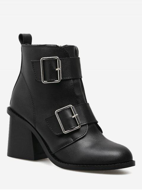 womens Chunky Heel Double Buckle Straps Ankle Boots - BLACK 35 Mobile
