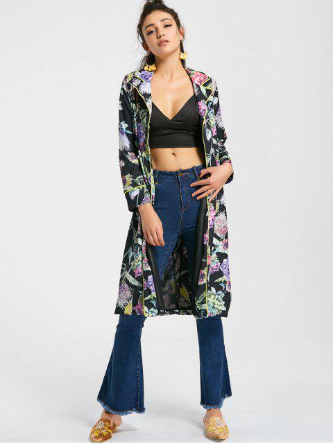 chic Long Floral Open Front Coat - FLORAL S Mobile