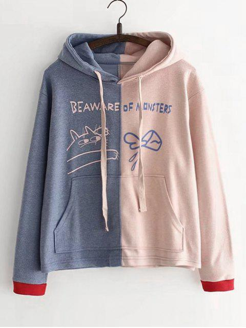 unique Letter Pocket Two Tone Hoodie - PINK ONE SIZE Mobile