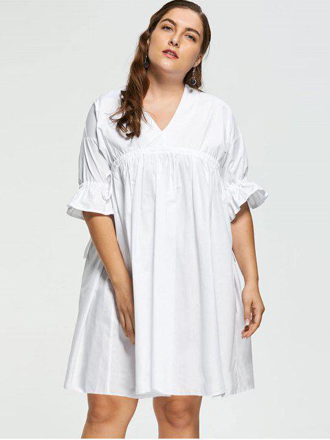 Vestido de Babydoll de manga larga - Blanco 5XL Mobile