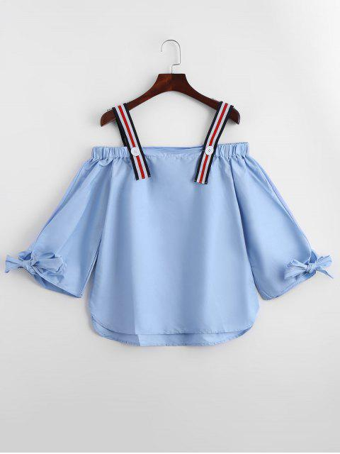 outfit Bow Tied Cold Shoulder Blouse - LIGHT BLUE M Mobile