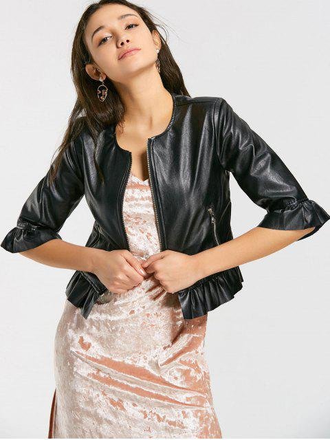 trendy Zip Up Faux Leather Cropped Jacket - BLACK S Mobile