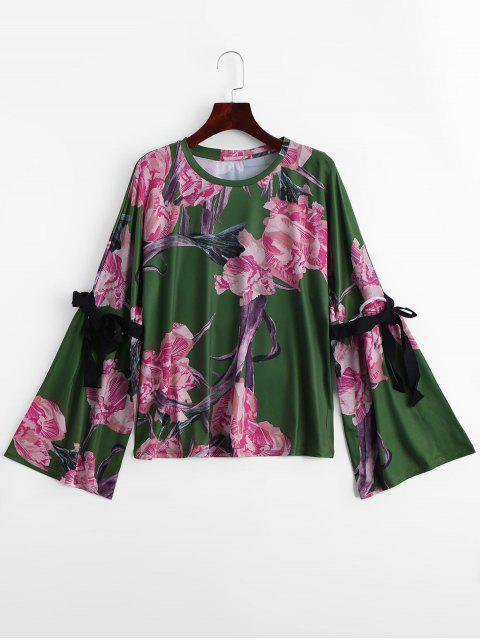 fancy Bwo Tied Flare Sleeve Floral Blouse - GREEN L Mobile