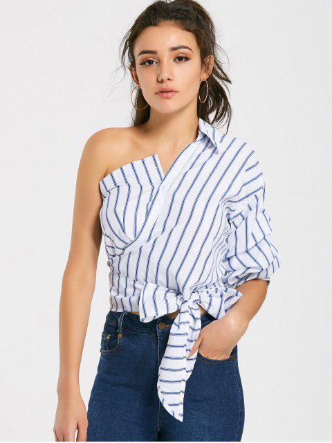 lady Bow Tied One Shoulder Stripes Shirt - STRIPE S Mobile