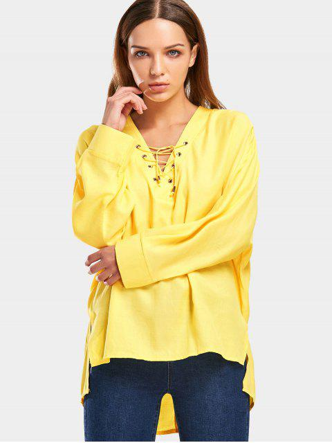 lady Loose Lace Up High Low Blouse - YELLOW ONE SIZE Mobile