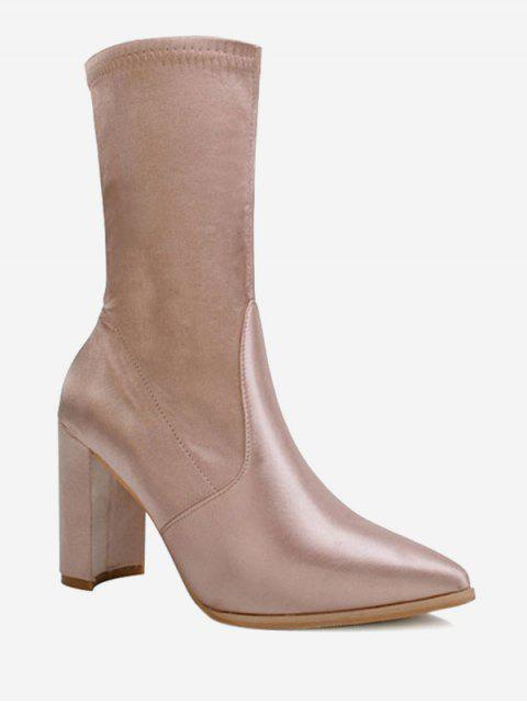 shop Pointed Toe Satin Chunky Heel Boots - CHAMPAGNE 38 Mobile