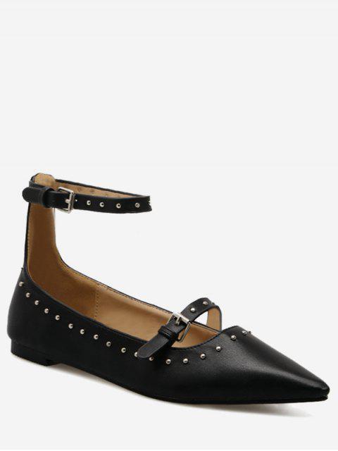 fashion Buckle Strap Stud Ankle Strap Flats - BLACK 37 Mobile