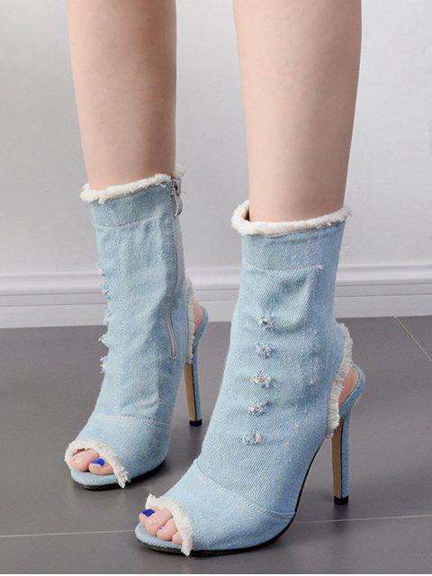 chic Peep Toe Denim Stiletto Heel Boots - BLUE 40 Mobile
