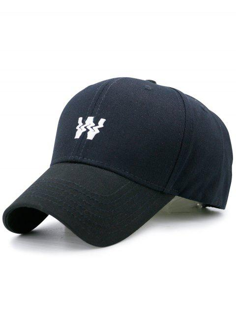 women's Distorted W Embroidery Baseball Hat - BLACK  Mobile