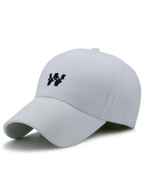 lady Distorted W Embroidery Baseball Hat - WHITE  Mobile