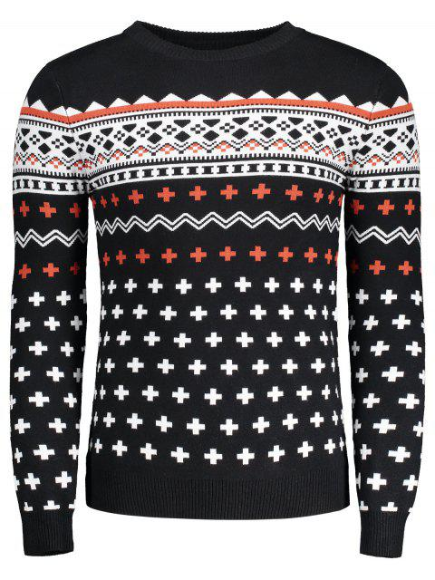 shop Crew Neck Mens Jacquard Sweater - BLACK L Mobile