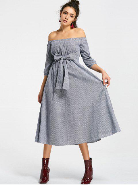 best Stripes Belted Off Shoulder Midi Dress - STRIPE M Mobile