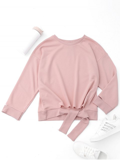 affordable Tied Cut Out Sports Sweatshirt - SHALLOW PINK S Mobile
