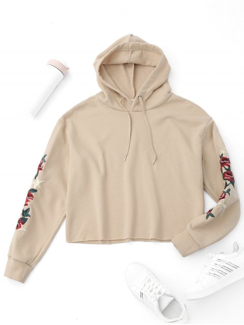 buy Pullover Flower Embroidered Hoodie - APRICOT L Mobile