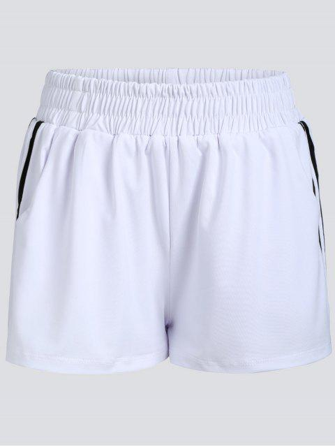 shops Striped Double Layered Sports Shorts - WHITE XL Mobile