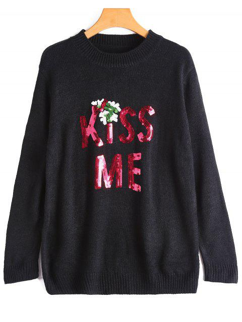 best Sequin Kiss Me Graphic Sweater - BLACK ONE SIZE Mobile