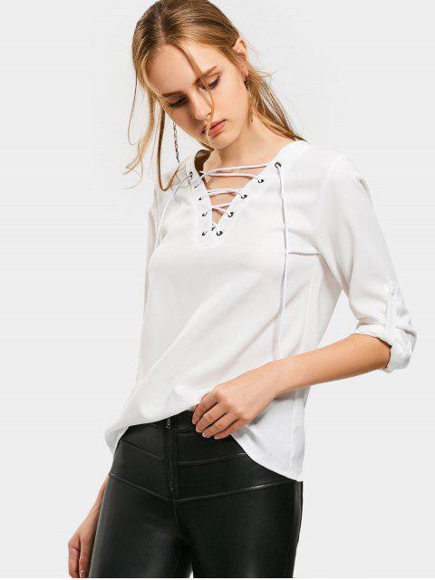 sale Lace Up Long Sleeve Plain Blouse - WHITE M Mobile