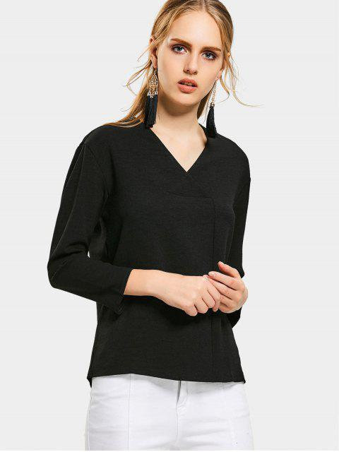 ladies V Neck Drop Shoulder Long Sleeve Blouse - BLACK S Mobile