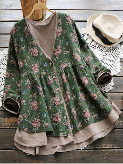 Blouse Florale à Col Plongeant et Boutons - Vert Taille Unique Mobile