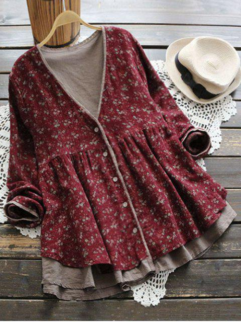 fancy Plunging Neck Button Up Tiny Floral Blouse - WINE RED ONE SIZE Mobile