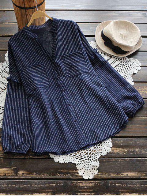 buy V Neck Ruffle Hem Striped Pocket Blouse - CERULEAN ONE SIZE Mobile