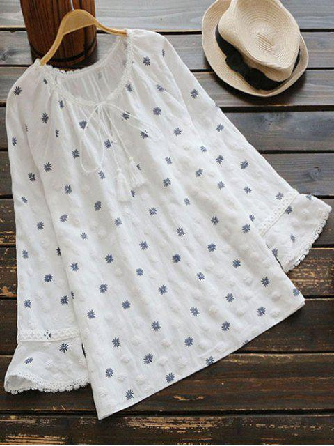 womens Snowflake Bow Tie Blouse - WHITE ONE SIZE Mobile