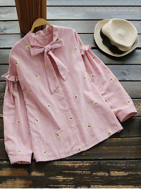 outfit Ruffle Hem Striped Bow Tie Blouse - LIGHT PINK ONE SIZE Mobile