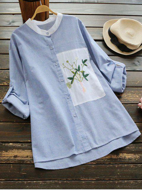 latest Floral Patched Side Slit Striped Blouse - BLUE STRIPE ONE SIZE Mobile