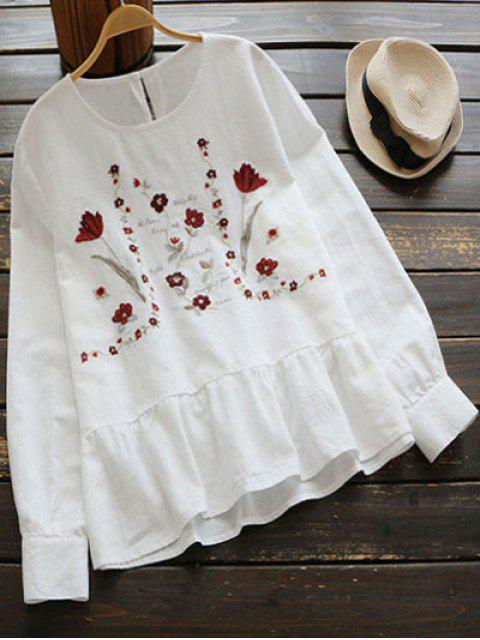 trendy Floral Embroidered Cut Out Blouse - WHITE ONE SIZE Mobile