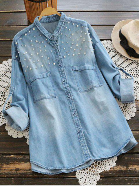 new Beaded Embellished Pockets Denim Shirt - LIGHT BLUE ONE SIZE Mobile