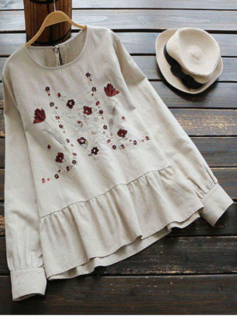 womens Floral Embroidered Cut Out Blouse - LIGHT KHAKI ONE SIZE Mobile