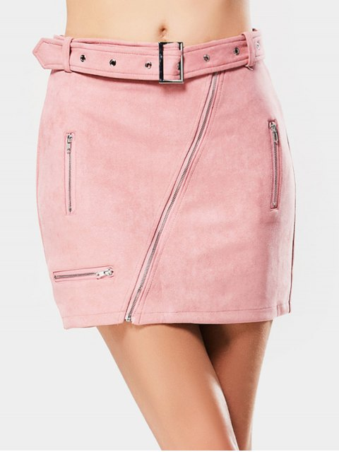 Zipper Faux Suede Jupe - ROSE PÂLE S Mobile
