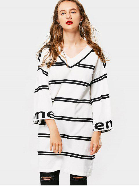 new Drop Shoulder Striped Knitted Dress - WHITE ONE SIZE Mobile