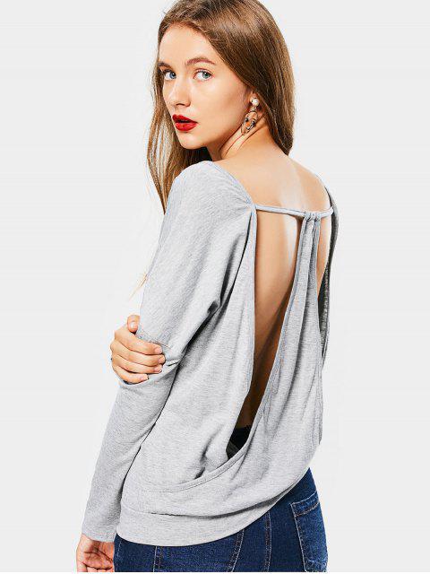shops Cut Out Open Back V Neck T-shirt - LIGHT GRAY 2XL Mobile