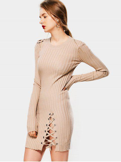 hot Knitted Lace Up Bodycon Mini Dress - YELLOWISH PINK ONE SIZE Mobile