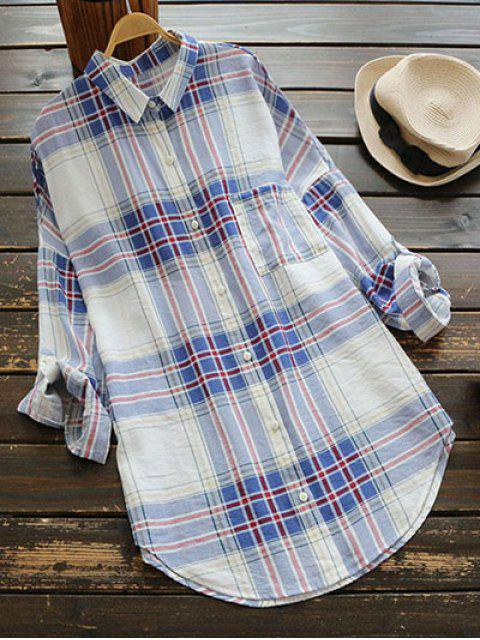 women's Checked Pocket Shirt Dress - BLUE ONE SIZE Mobile