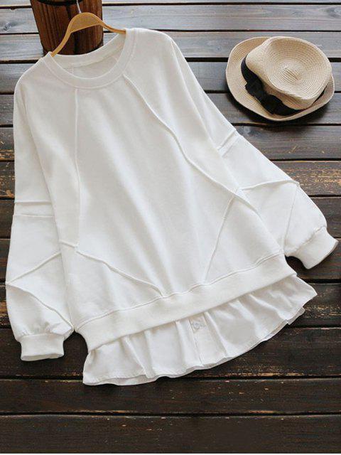 lady Crew Neck Patchwork Sweatshirt - WHITE ONE SIZE Mobile