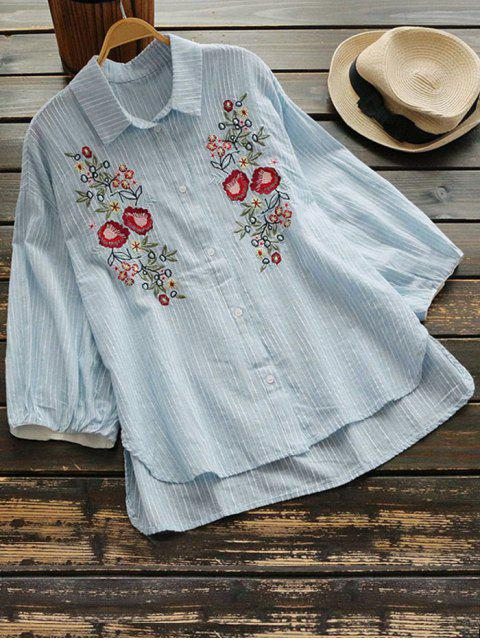 women Floral Embroidery Drop Shoulder Shirt - LIGHT BLUE ONE SIZE Mobile
