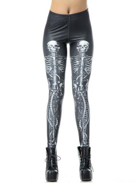 online Halloween 3D Skull Bone Print Leggings - BLACK XL Mobile