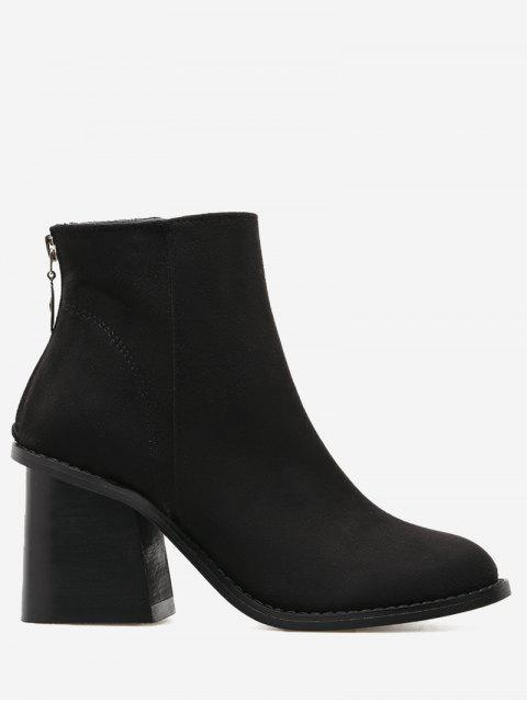 chic Faux Suede Block Heel Ankle Boots - BLACK 39 Mobile