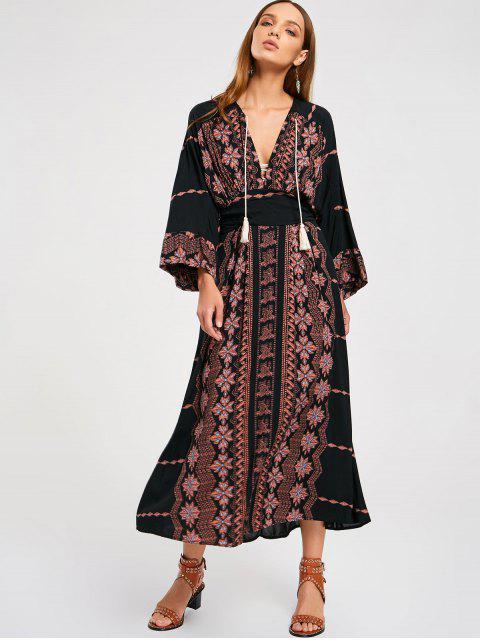 hot Empire Waist Printed Maxi Dress - BLACK L Mobile