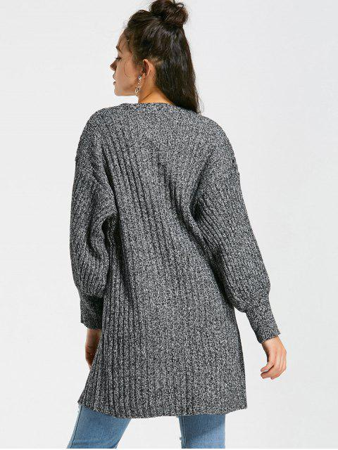 women Heathered Lantern Sleeve Open Front Cardigan - DEEP GRAY ONE SIZE Mobile