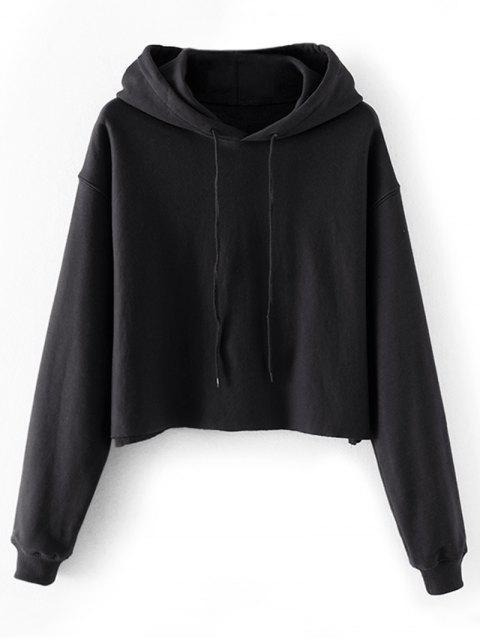 Crop Pullover Hoodie mit Tropfen-Schulter - Schwarz L Mobile