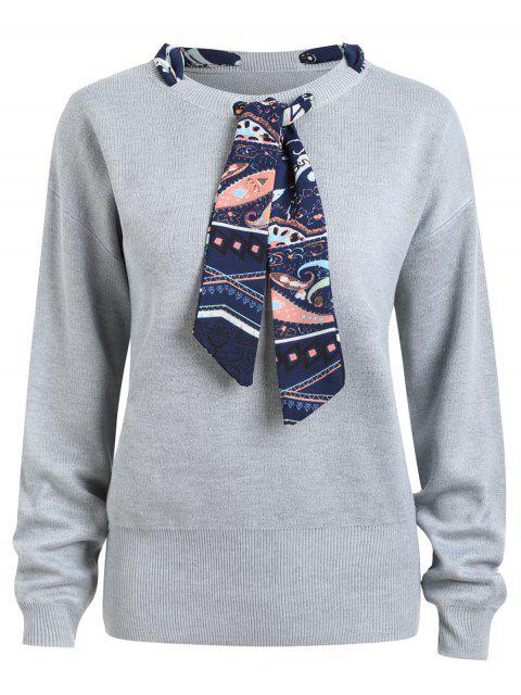 unique Plus Size Ribbon Embellish Sweater - GRAY 5XL Mobile