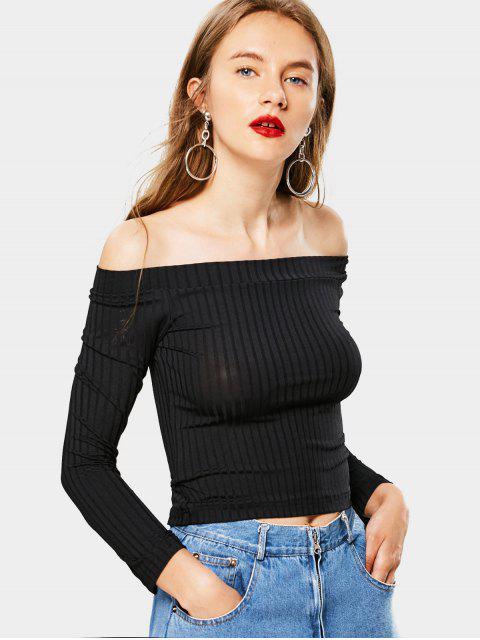 T-shirt côtelé à épaules dénudées - Noir S Mobile