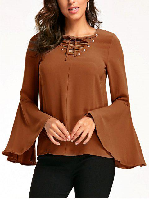 lady Flare Sleeve Lattice Blouse - KHAKI S Mobile