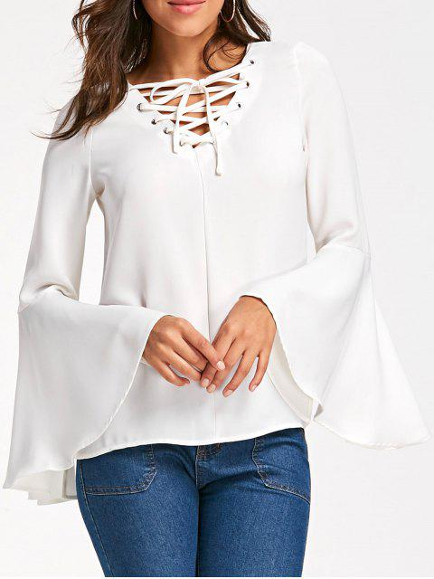 Blusa de celosía con estampado de mangas - Blanco XL Mobile